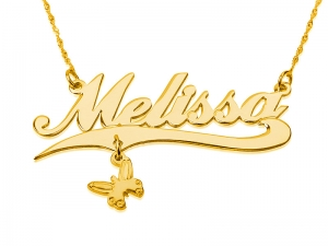 Personalized 14k Gold Name Necklace + Pendant