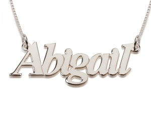 Sterling Silver Name Necklace Block Letters
