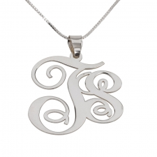 2 Letters Silver Monogram Necklace - Left