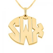 3 Letters Block Gold Monogram Necklace - Open