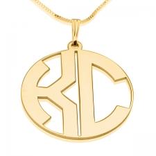 2 Letters Block Gold Monogram Necklace - Closed