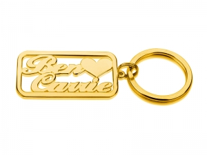 2 Names Gold Personalized Key Chain