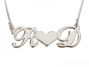 Two Letters with a Middle Heart Sterling Silver Name Necklace