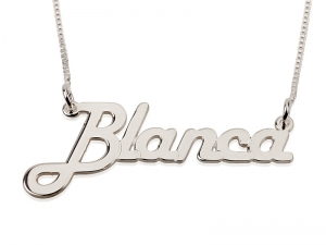 .925 Sterling Silver Block Letters Name Necklace