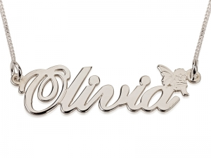 Sterling Silver Cursive Letters Pedant with Fairy
