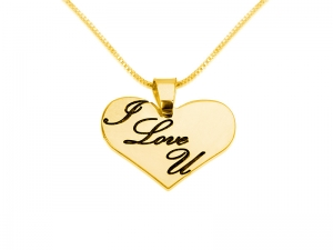 I LOVE YOU Gold Plated Heart Pedant