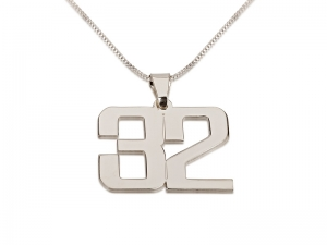 2 Numbers Silver Pedant Personalized Necklace Large