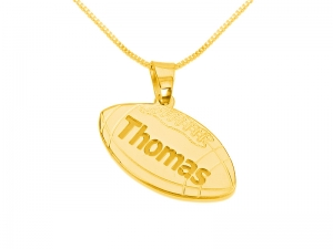 Gold Plated Football Pedant Personalized Necklace