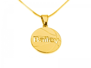 Gold Plated Basketball Pedant Name Necklace