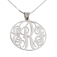 3 Letters Silver Monogram Necklace - Round