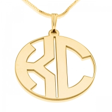 2 Letters Gold Monogram Necklace - Close