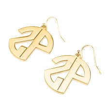 2 Block Letters Gold Monogram Name Earrings