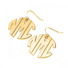 3 Block Letters Gold Monogram Name Earrings