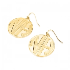 2 Block Letters Gold Plated  Monogram Name Earrings - Sparkling