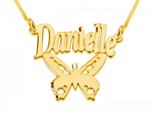 Gold Butterfly with Name Personalized Necklace