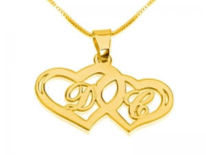 Two Hearts with Letters Gold Plated Name Necklace Large