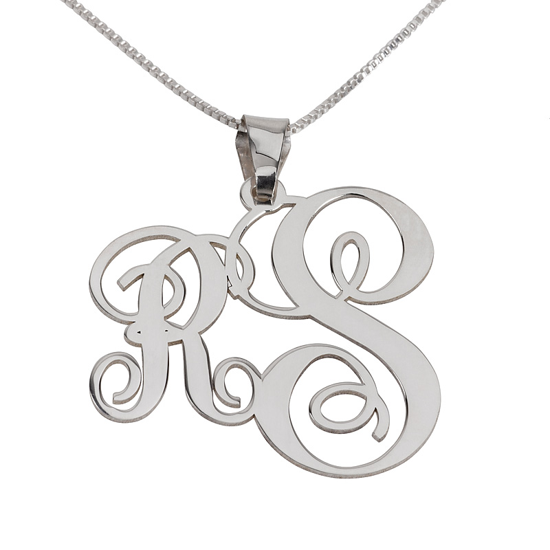 2 letters silver monogram necklace right