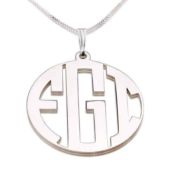 3 letters silver block monogram necklace close With block letter monogram necklace
