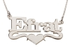 Middle Heart Sterling Silver Name Necklace
