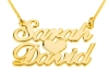 2 Words Gold Plated Cursive Name Necklace with Heart