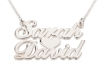 2 Words Sparkling Silver Name Necklace with Heart