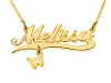Double Thickness Gold Plated Name Necklace with Gold Plated Pendant