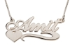 Sterling Silver Cursive Name Necklace with Heart