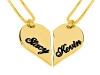 2 Halves of a Gold Plated Heart Pedant with Your Names Small