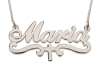 Sterling Silver Name Necklace with Underline and Cross