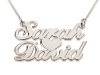 2 Words Silver Name Necklace with Heart