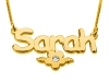 Gold Plated Name Necklace with Flower and Swarovski