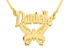 Double Thickness Gold Butterfly with Name Personalized Necklace