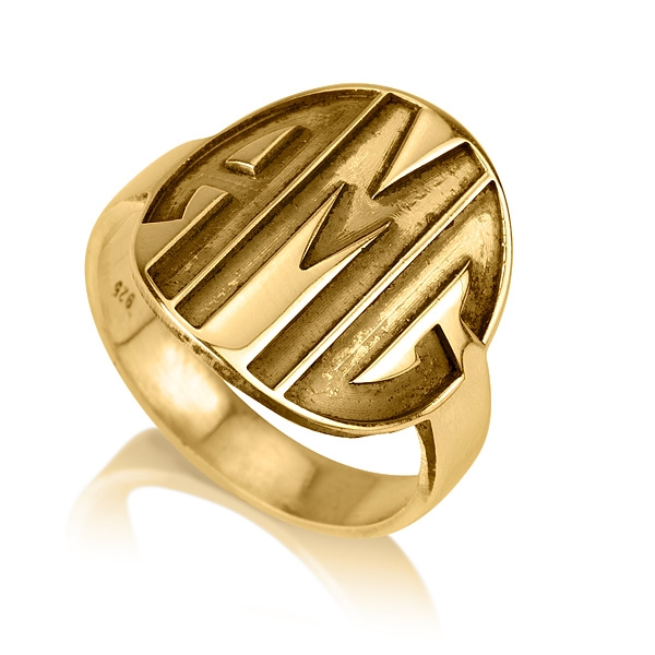 gold plated name ring print style sparkling