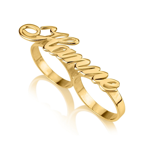 two fingers gold plated name ring