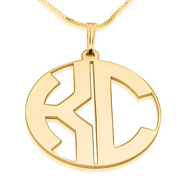 2 letters block gold monogram necklace closed